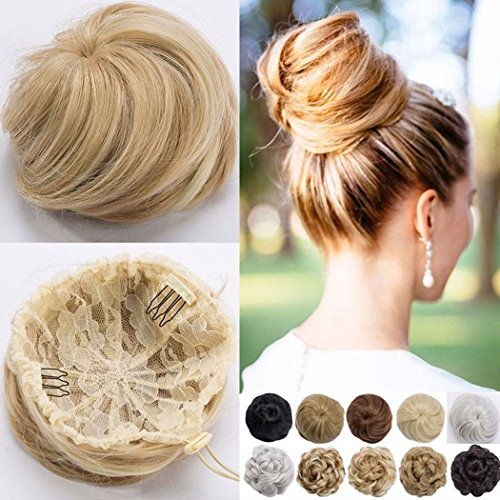 VOLUMINÖS Glatt Haarverlängerung Haargummi Haarteil hairpiece Haarverdichtung Zopf Scrunchie Haarband Haarschmuck Dunkelblond zu Bleichmittel Blond
