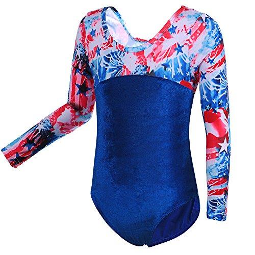 HUAANIUE Mädchen Gymnastik Trikotanzug Kostüm Langarm Tanzanzug Fitnessbekleidung