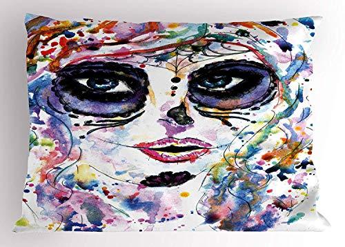 Nifdhkw Sugar Skull Decor Pillow Sham, Halloween Girl with Sugar Skull Makeup Watercolor Painting Style Creepy, Decorative Standard Size Printed Pillowcase,Multicolor