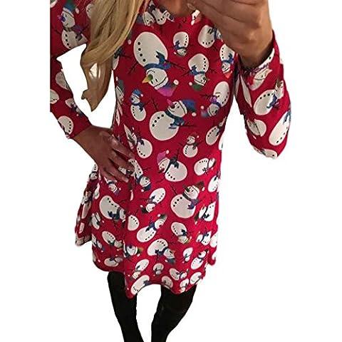 GillBerry Mujer Moda Manga larga Navidad Monigote de nieve Impresión Vestido de fiesta