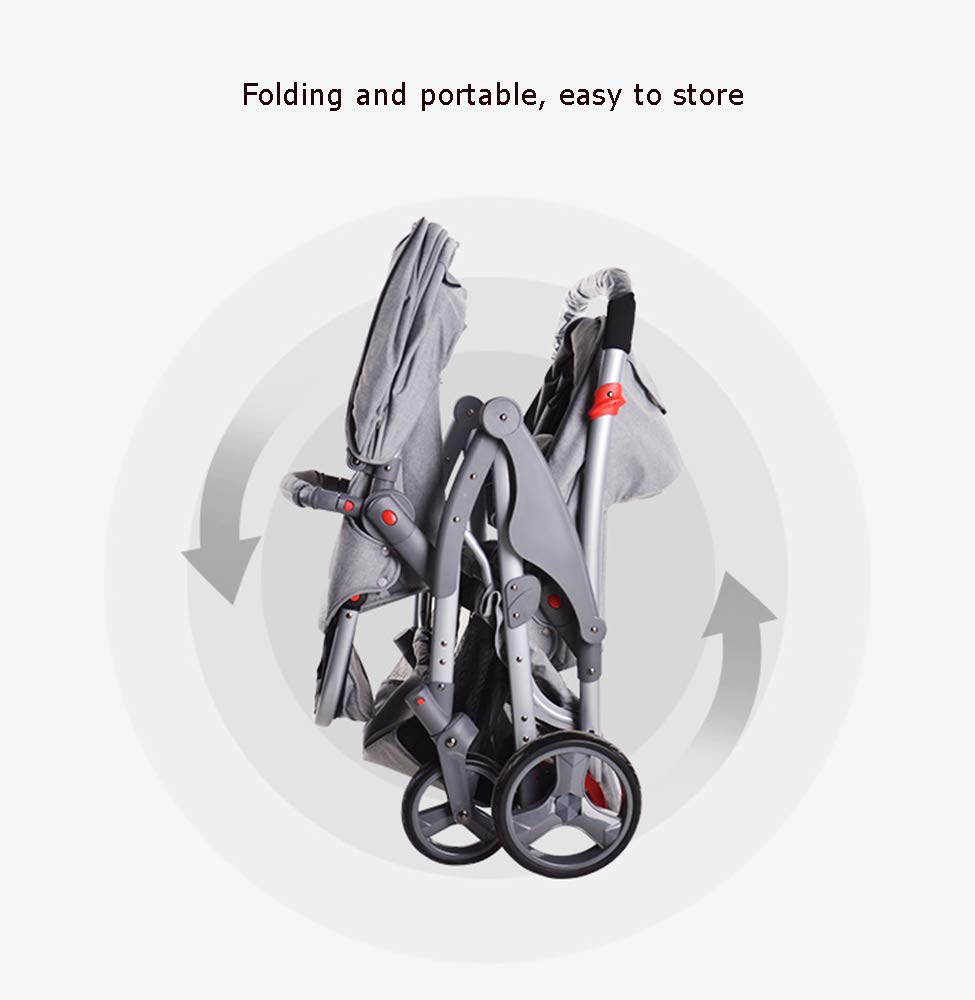 MYRCLMY Double Stroller Twins Baby Stroller,Can Sit And Detachable,Ultralight Portable Folding Backrest Push Handle Double Trolley Jogging Four-Wheel Four Seasons Universal,Black MYRCLMY *TWIN STROLLER: Getting everywhere with two little ones has never been easier, thanks to the Double Strollers; you can glide around town even when you only have one hand free to steer; you can even roll through a standard size doorway. *ADJUSTABLE BACKREST & CONNECTABLE SEATS :The backrest can adjust to fit baby's sleep posture to keep comfortable sleeping. Two seats can be connected to lengthen the seat. *SAFETY WHEELS & 5-POINT SAFETY BELTS:The springs in front wheels absorb shocks for easy to control direction and safety. The 5-point safety belt is equipped with each seat to ensure security while keeping your baby fit to the safety belt to feel comfortable. 7