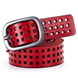 Aszhdfihas Women Leather Belt Breathable Hollow Lady All-match Female Belt Casual Style Stretch Waistband