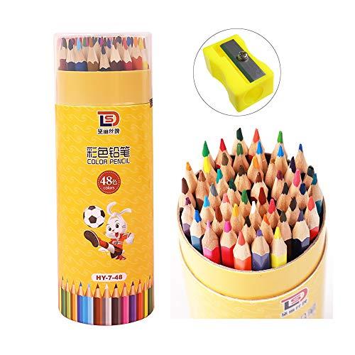 INHEMI 48 Buntstifte Set, Malstifte für professionelle Farbmischung, lebendige Farbstifte zum Malen und Skizzen, weiche wachsbasierte Holzfarbstifte