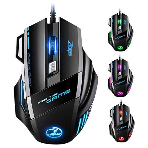 Souris Gamer LED Optique 5500 DPI VicTsing Zelotes Souris de Jeu 7 Boutons Souris Gaming Filaire Profesionnel Gaming Mouse USB de...