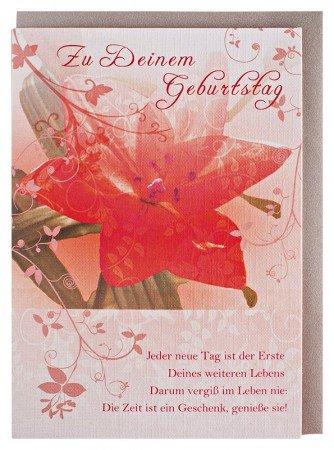 Geburtstagskarte Blume mit Spruch