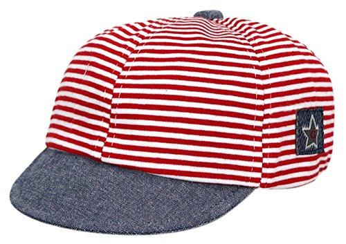 EOZY Basecap Babycap Hut Kappe Baumwolle Schirmmütze Sonnenschutz Kopf 48cm - Baby Rote Mütze