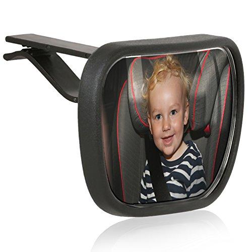 Wicked Chili Baby Beobachtungsspiegel zur Befestigung an der KFZ Sonnenblende (Kugelgelenk, Spiegelfläche: 85 x 52 mm, Designed in Germany) schwarz