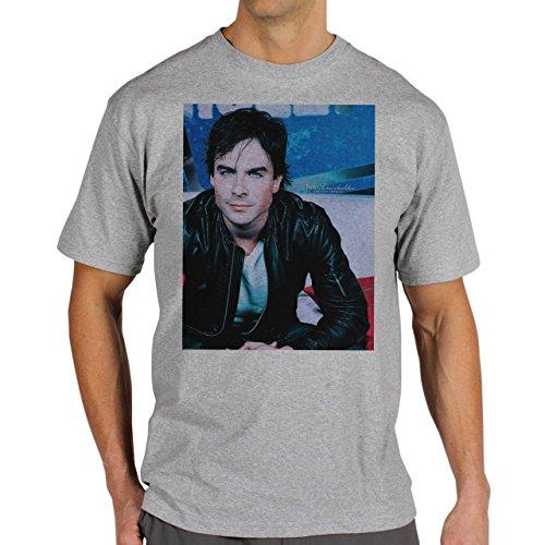 The Vampire Diares Damon Photo Shoot Art Background Herren T-Shirt Grau