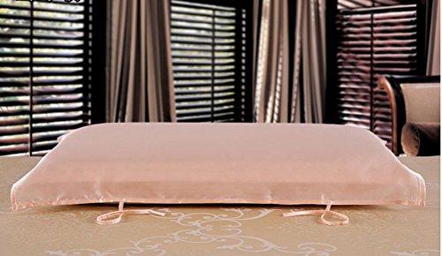 Eazyhurry 100% seta di gelso cuscino asciugamano colore solido rettangolo decorativo copertura del cuscino 73,7x 51,8cm Light Purple Pink 2