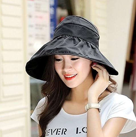 ZHANGYONG*Pare-soleil pliable crème solaire UV chapeau Stetson chapeau chapeau de sable le long de la null , top hat Black , réglable