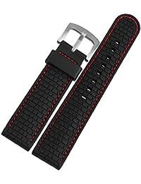 Reloj de la venda de la correa de caucho de silicona de color negro 22 mm resistente al agua de la hebilla de reemplazo de una milla al norte de color rojo de costura