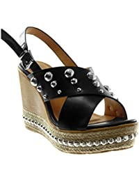 Angkorly Chaussure Mode Sandale Mule Lanière Cheville Plateforme Femme  Perle Clouté Bois Talon Compensé Plateforme 10 9e3e10a30361