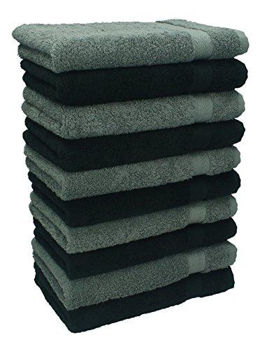 Betz Lot de 10 serviettes débarbouillettes lavettes taille 30x30 cm en 100% coton Premium couleur gris anthracite et noir