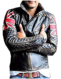 Da Uomo Biker Vintage con Effetto Invecchiato Marrone Cafe Racer Leather Jacket