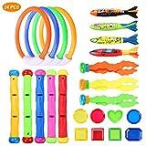 Emooqi Tauchen Spielzeug, Unterwasser Kinder Spielzeug 24 Stück Schwimmspielzeug Einschließlich Tauchstock, Tauchring ,Toypedo , Tauchen Algen, Pool Spielzeug Tauchschmuck für Kinder Jungen Mädchen