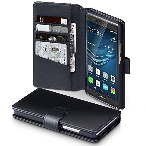 Huawei P9 Plus Case, Terrapin [ECHT LEDER] Brieftasche Case Hülle mit Kartenfächer und Bargeld für Huawei P9 Plus Hülle Schwarz
