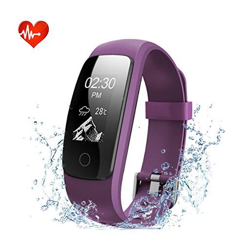 EFOSHM Fitness Tracker mit Herzfrequenz Fitness Armband Wasserdicht Aktivitätstracker Bluetooth Smart Armband Uhr Schrittzähler mit Schlafmonitor HR Vibrationsalarm SMS Anrufe Kalorienzähler(Violett)