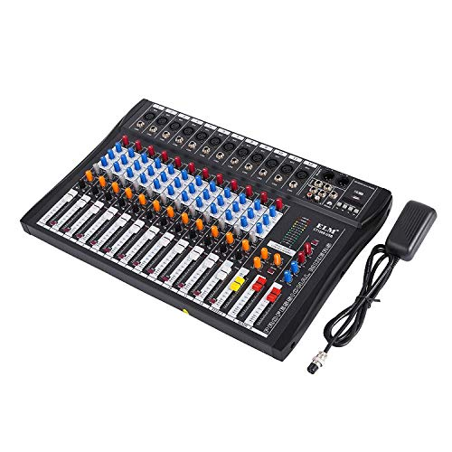 Buoqua 12 kanal Digital Mic Line audio mixer usb DJ Mixer 48V Phantom Mixing Console mischpult usb dj mischpult MP3 Audio Sound Mixer (12 kanal) (Desktop Mixer)