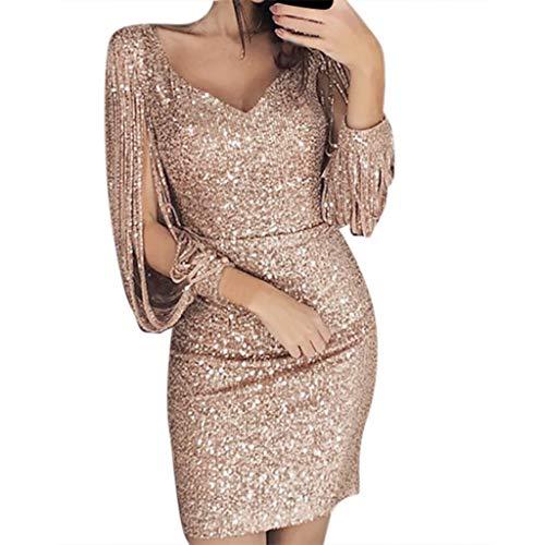 iYmitz Damen Frauen Solide Pailletten Stitching Sequenziert V-Ausschnitt Mantel Langärmeliges Minikleid Abendkleid Ballkleid ()