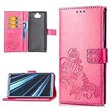 Sony Xperia XA3 Ultra Handyhülle Hülle Glücksklee Wallet Flipcase PU Leder Schutzhülle Bookstyle Handytasche Brieftasche Kartenfach Ständer Magnetisch Silikon Handyschale Bumper Hardcase Rose rot