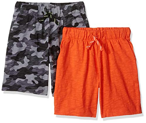 Spotted Zebra 2-Pack Jersey Knit Short, Grey Camo/Orange, XX-Large (14) -