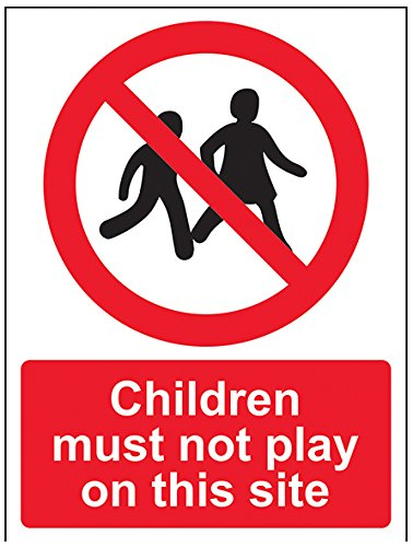 vsafety 52029an-r Kinder müssen nicht Seite Spielen auf diesem Verbot Zugang Zeichen, starrer Kunststoff, Hochformat, 150mm x 200mm x 200mm, schwarz/rot