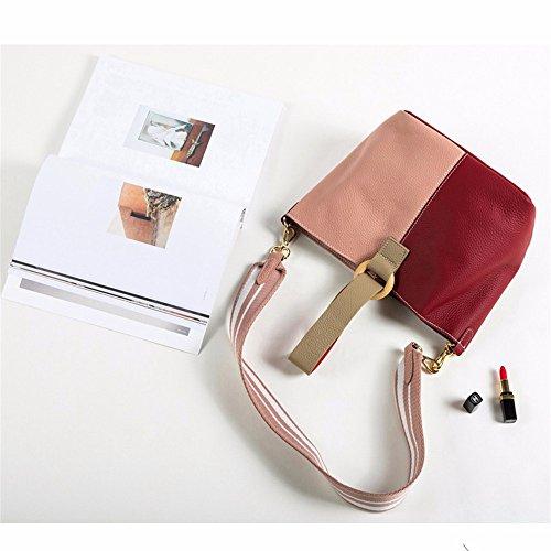 Womens Soft Borsette in pelle multicolor borsa a tracolla viaggiare TotesLeather sacchetto femmina,rosso e blu Rosa