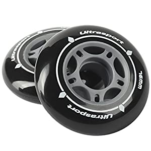 Ultrasport Inline Skate Wheels, with good grip, for use inside and outside, set of 2 in black with 76 mm diameter