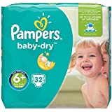 Pampers - Baby Dry - Couches Taille 6+ (+16 kg) - Pack Géant (x32 couches)