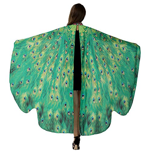 Pfau Kostüm Für Kids - HITOP Damen Butterfly Wings Denn Schmetterling Schal Fee Cape Nymph Elf Kostüm Zubehör Eine Größe passte alle Grüner Pfau