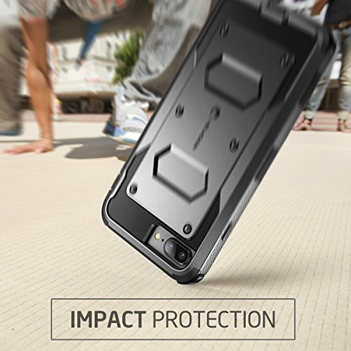 iPhone 7 Plus Hülle, iPhone 8 Plus Hülle, i-Blason Armorbox Schutzhülle Cover Full Body Case Schale mit eingebautem Displayschutzfolie und Gürtelclip für Apple iPhone 7 Plus / iPhone 8 Plus,Schwarz schwarz