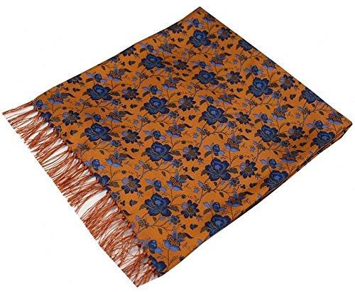 David Van Hagen - Bufanda de seda para hombre, diseño de flores de Edwardian, color naranja y azul