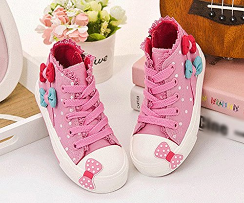 Scothen Sneaker chaussures toile fleur motif fille chaussures toile sneaker haut haute textiles Kid Sneakers Toile enfants chaussures course sport baskets filles bébé princesse chaussures Rose