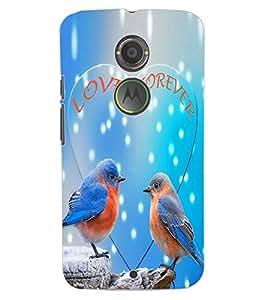 ColourCraft Love Birds Design Back Case Cover for MOTOROLA MOTO X2
