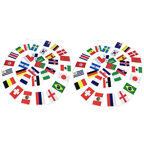 Flag String (YouN 2pcs Russian World Cup Football 32 Team National Flags String Banner(D))