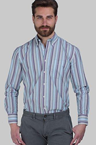 Camicia classica Coveri Collection rigata azzurro, viola e cielo Righe multicolor azzurro, viola e cielo
