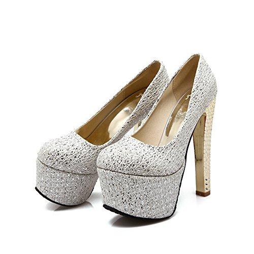 AllhqFashion Femme Couleur Unie Pu Cuir Stylet Rond Tire Chaussures Légeres Argent