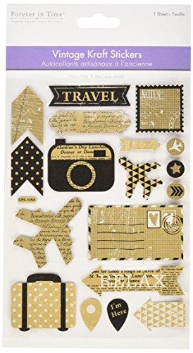 Multicraft las importaciones Multicraft Vintage papel kraft pegatinas-Viajes, otros, multicolor