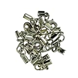 #6: MagiDeal 12 Pieces Brass Lobster Claw Clasp Leather Fold Over Crimp Clip Ends Set Bracelet DIY Jewelry Making Findings Crafts - silver