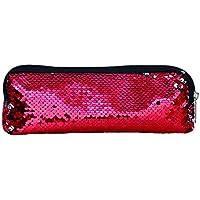 Lubier Multifuncional Sirena Bolsa de Cosméticos Flip Lentejuela Glitter Lápiz Bolsa Cambio de Sirena Reversible Lentejuelas Bolsa de Bolsas de Maquillaje para Adolescentes Viajando size 22*8cm (Rot)