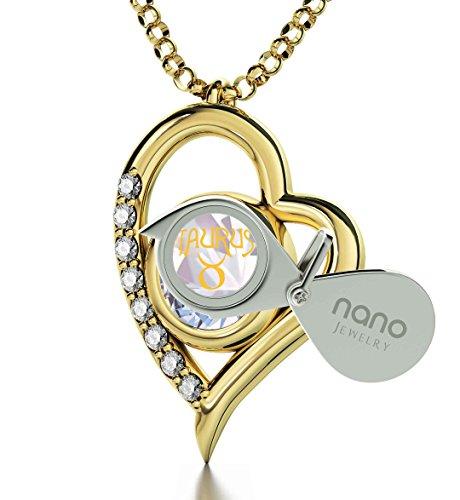 Pendentif Coeur Signe du Zodiaque Plaqué Or - Collier Taureau avec Inscription en Or 24ct sur un Cristal Swarovski, 45cm - Bijoux Nano Irisé