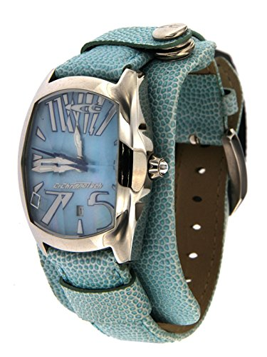 Chronotech Women Cuff Watch Only Time Steel Case Leather Strap Sky Blue Retro Limited Edition