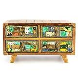 Divero Vintage Sideboard Wäscheschrank Anrichte Kommode – Shabby Chic Möbel Unikate aus Recycling-Holz Bootsholz – bunt 87 x 43 x 50 cm
