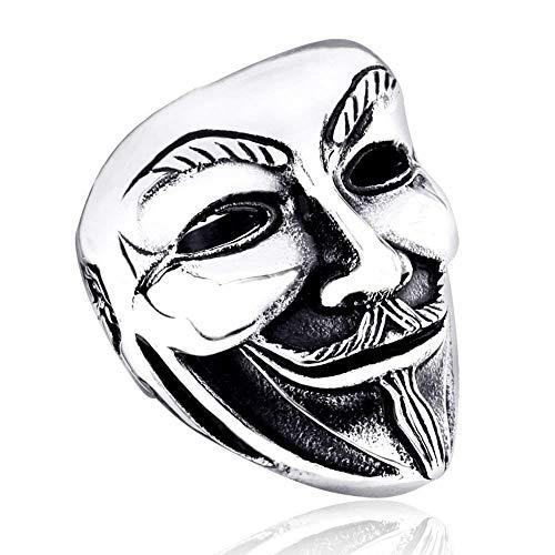 YABENI Männliche Art und Weise Schmuck Ringe, 316L Edelstahl V für Vendetta Schablonen Ring für Männer