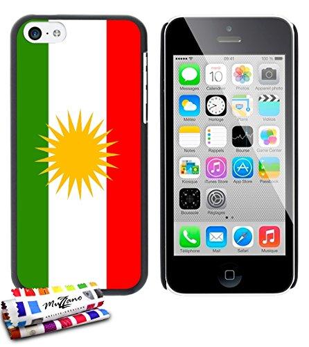 Ultraflache weiche Schutzhülle APPLE IPHONE 5C [Flagge Kurdistan] [Gelb] von MUZZANO + STIFT und MICROFASERTUCH MUZZANO® GRATIS - Das ULTIMATIVE, ELEGANTE UND LANGLEBIGE Schutz-Case für Ihr APPLE IPHO Schwarz