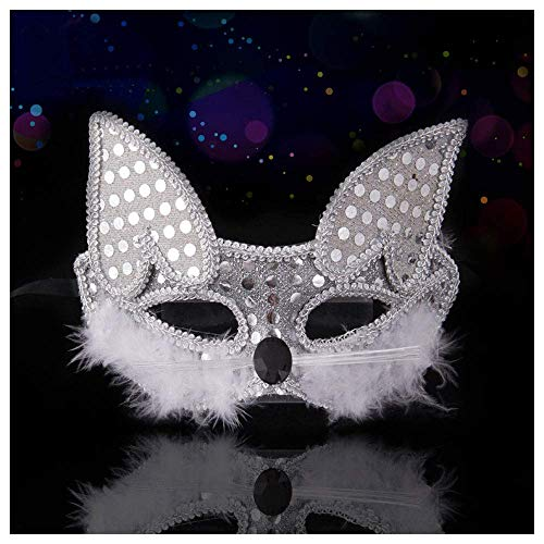 YaPin Halloween Katze Gesichtsmaske Retro Half Face Cat Gesichtsmaske Fox Kindertag Maske Bühne Painted Performance Requisiten (Color : White)