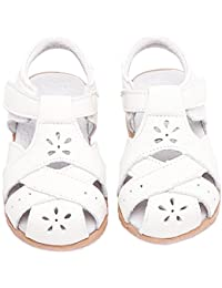 8dd5bfbe1bd9 Gaatpot Girl s Summer Closed Toe Sandals Kids Casual Flat White Leather  Princess Shoes Size
