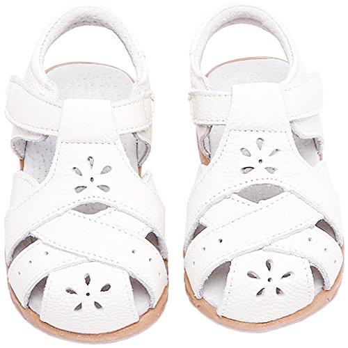 Gaatpot Mädchen Sandalen Kinder Leder Freizeit Geschlossene Sandale Schuhe Kinderschuhe Sandaletten Lauflernschuhe Sommer Weiß 22