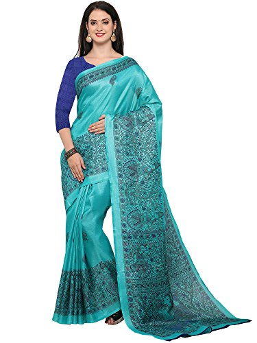 Sarees (Saree Mall Women\'s Clothing Saree Collection in Green Khadi Art Silk Material For Women Party Wear,Wedding,Casual sarees Offer Latest Design Wear Sarees With Blouse Piece)