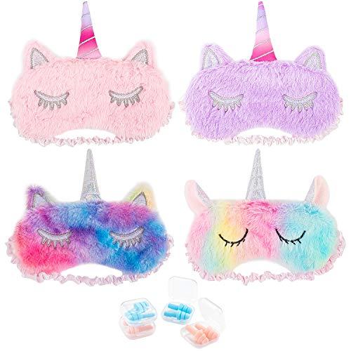 horn Schlafmaske Augenklappe Unicorn Augenblende Maske, Weichem Plüsch Schlafmaske und 4 Paar Ohrstöpsel ()
